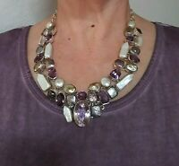 Artisan Handcrafted Real Multi Gemstone Bib Necklace Sterling Silver INCREDIBLE
