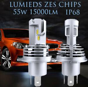 Pair H4 LED Headlight kit 55W 15000LM Truck Auto Lamp Bulbs Globes Hi-Lo Beam