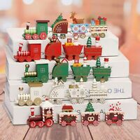 Christmas Wooden Train Festive Ornament Santa Claus Snowman Xmas Decor Gift-