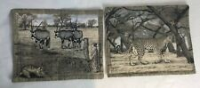 African Safari Theme 2 x Handmade Fabric Table Placemats Beige Leopard W944