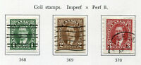 1937-1938 Canada.  King George VI.  Coil stamps. Full set of 3 USED. SG 368/370.