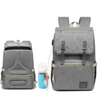 Large Capacity Waterproof USB Heating Nappy Mummy Backpack Baby Diaper Bag