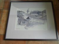 Fabulous Water Colour Painting NEWFIELD HALL Signed by the Artist+Framed+Glass