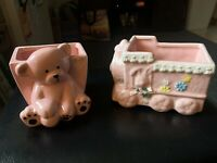 vintage ceramic napco - 2 Planters - Bear And Train Set