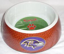 NEW baltimore ravens dog feeding bowl large football pattern on the sides