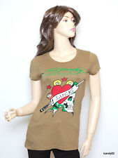 Nwt Ed Hardy Skull in Love Crew Neck T-Shirt Tee Top Tunic ~Green *XS
