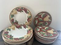 "Set of 13 PIER 1 EARTHENWARE MOSAIC FRUIT 8"" Salad PLATE, Large 9"" Rim Soup Bowl"