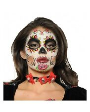 Women's Day of the Dead Choker Sugar Skull Black Red Necklace Costume Accessory