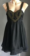 Pre-owned FRESH SOUL LUXE Black & Bronze Stud/Bead Trim Dress Size Size 10