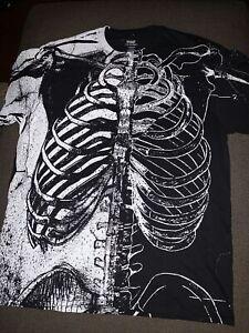 New Men's Spirit Halloween Human Skeleton Anatomy Shirt Black White Sz L