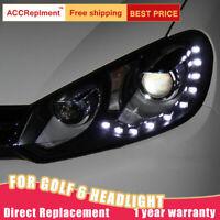 2 pezzi per vw Assemblea Golf 6 fari Bi-xeno lente proiettore LED DRL 2010-2013