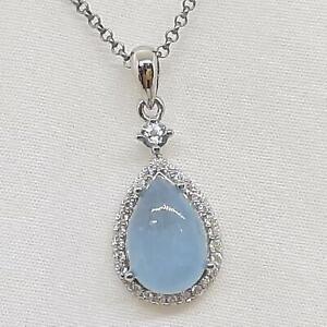 Genuine 6.35ctw Aquamarine & Diamond Cut White Sapphire 925 Silver Pendant 3.6g