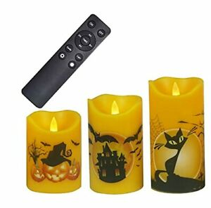 Halloween Flameless Candles with Remote Timer Real Wax Flickering Battery Ope...