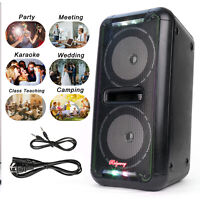 Portable Dual 6.5'' Bluetooth Wireless Speaker Loud Bass Sound Power Plug FM TF