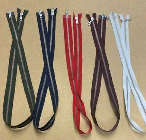 YKK 2 WAY - NO.5 91CM Open Ended Zip, SILVER Metal Teeth - Choice Of Zip COLOUR