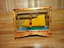 Small paper ship in a fishtank instead of a bottle, nautical beach ocean decor