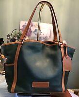 Dooney Bourke Leather Large Shopper Tote Bag Weekend Travel Pockets Green Brown