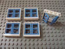 Lego Minifig ~ Lot Of 5 Windows Light Blue Panel w/White Frames House Cottage qv