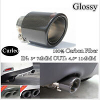 "Curled IN: 3"" 76MM OUT: 4.5"" 114MM Glossy 100% Carbon Fiber pipe Exhaust Tip"