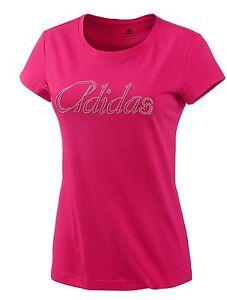 Adidas Ladies Logo Glitter Tee Shirt - Womens Ladies T-Shirt Top