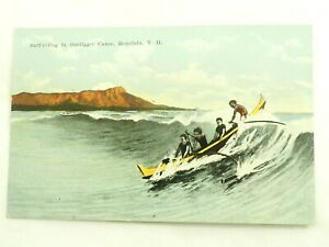 Surf-riding in Outrigger Canoe Honolulu T.H. Post Card