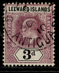 LEEWARD ISLANDS EDVII SG33a, 3d dull purple/black VFU CDS. Cat £100. WMK MULT CA