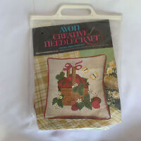 Vintage Crewel kit Needlepoint Avon Pillow Strawberries Basket Kitsch Retro 70s