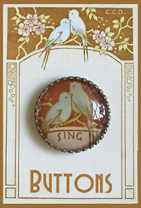 """SING  ~ BLUE BIRDS IN FLOWERS Glass Dome BUTTON 1 1/4"""" VINTAGE Music INSPIRATION"""