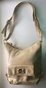 Gianni Bini Fuax Patent  Leather Beige Large Handbag/Purse With Gold Accents