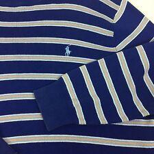 Polo Ralph Lauren Pullover Sweater Men's Small Blue Stripe Pima Cotton Pony