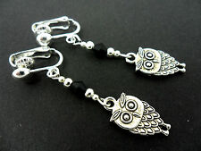 A PAIR OF  TIBETAN SILVER DANGLY OWL & BLACK CRYSTAL  CLIP ON EARRINGS. NEW.
