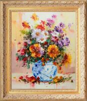 Gold Framed French Oil Painting on Canvas, E.Calton's Signed Blue Vase Bouquet