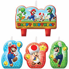 Super Mario Party Supplies CANDLE SET Mini Moulded Pack Of 4 Genuine Licensed