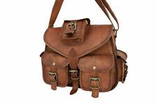 Distressed tan Leather Messenger Bag Women Satchel Purse Handbags Shoulder