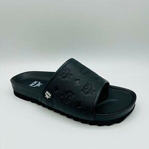 $295 MCM Men's Black Leather Monogram Logo Slide Sandal MEX8A2K45BK