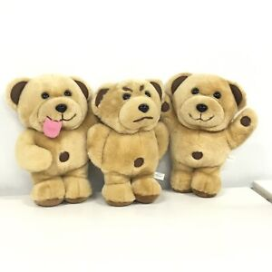 3 Tiny Teddy Plush Bears - Happy, Silly Grumpy - Arnotts Biscuits #452