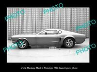OLD HISTORIC PHOTO OF 1966 FORD MUSTANG MACH 1 PROTOTYPE LAUNCH PRESS PHOTO