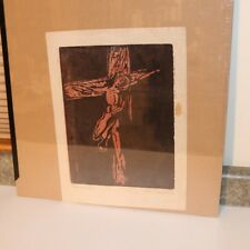 Mid Century Mod Wood Block Print - The Cross - Signed Helen Schoenheilder