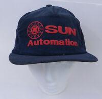 Vtg Sun Automation Cap Hat Corduroy Blue Snapback