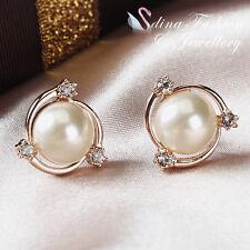 18K Rose Gold Plated Simulated Pearl & Diamond Large Pinwheel Stud Earrings
