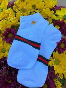 GUCCI Bee No-Show / Low Cut Socks - White - One Size - Free Same Day Shipping!