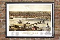 Vintage Louisville, KY Map 1876 - Historic Kentucky Art Old Victorian Industrial