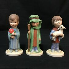 Our Kids Christmas Remembered Boy Figurine Set Jane McDowell Shepherd Lamb Plant