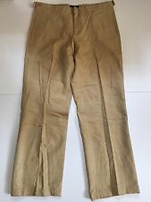 French Connection Jeans Men's 38x33 Gold Faux Suede Leather Pants Straight Leg