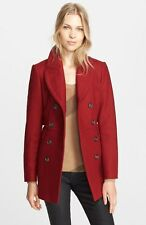 New Auth BURBERRY $1095 Newmont Wool Blend Peacoat Coat,SZ6, Damson Red