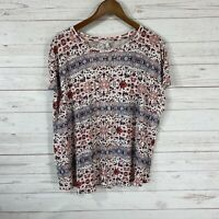 Lucky Brand Dolman Cap Sleeve Floral Print Top 2X Red Ivory Rayon Blend NWOT