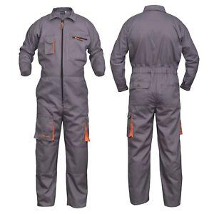 Grey Work Wear Men's Overalls Boiler Suit Coveralls Mechanics Protective