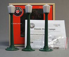 LIONEL CLASSIC STREET LAMPS 3 PK GREEN train lights post war style poles 6-29247