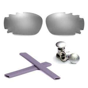 Walleva Polarized Ice Blue Lenses And Rubber/Bolts Kit For Oakley Split Jacket