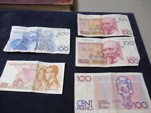 Collection Lot, Belgium Vintage Currency, 850 Francs, 500+100+100+100+50